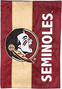 Team Sports America Collegiate Florida State University Embroidered Logo Applique Garden Flag, 12.5 x 18 inches Indoor Outdoor Double Sided Decor for Collegiate Fans