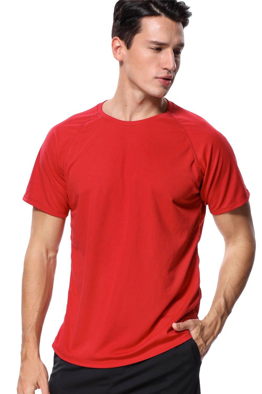 anfilia UPF Swim Shirt for Mens UV Sun Protection Rash Guard Sunsuit Red Large by anfilia