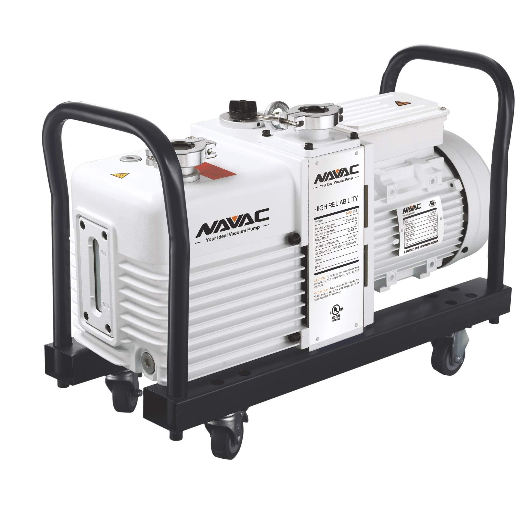 Navac Vacuum Pump, Industrial Grade, 12cfm, 3micron, Cart/Filter/Adapter (NRD16T)