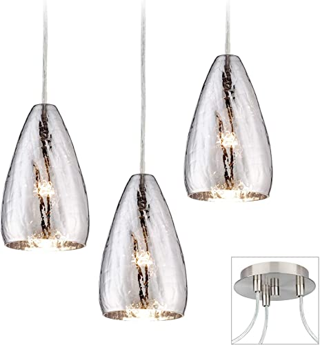 Portico Brushed Nickel Mini Swag Pendant Chandelier Modern Crackle Glass 3-Light Fixture for Dining Room House Foyer Kitchen Island Entryway Bedroom Living Room – Possini Euro Design