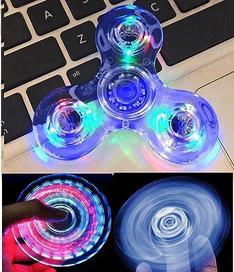 LED Fidget Tri Hand Spinner FLASHING LIGHT Stress Relief UK Seller Xmas Gift