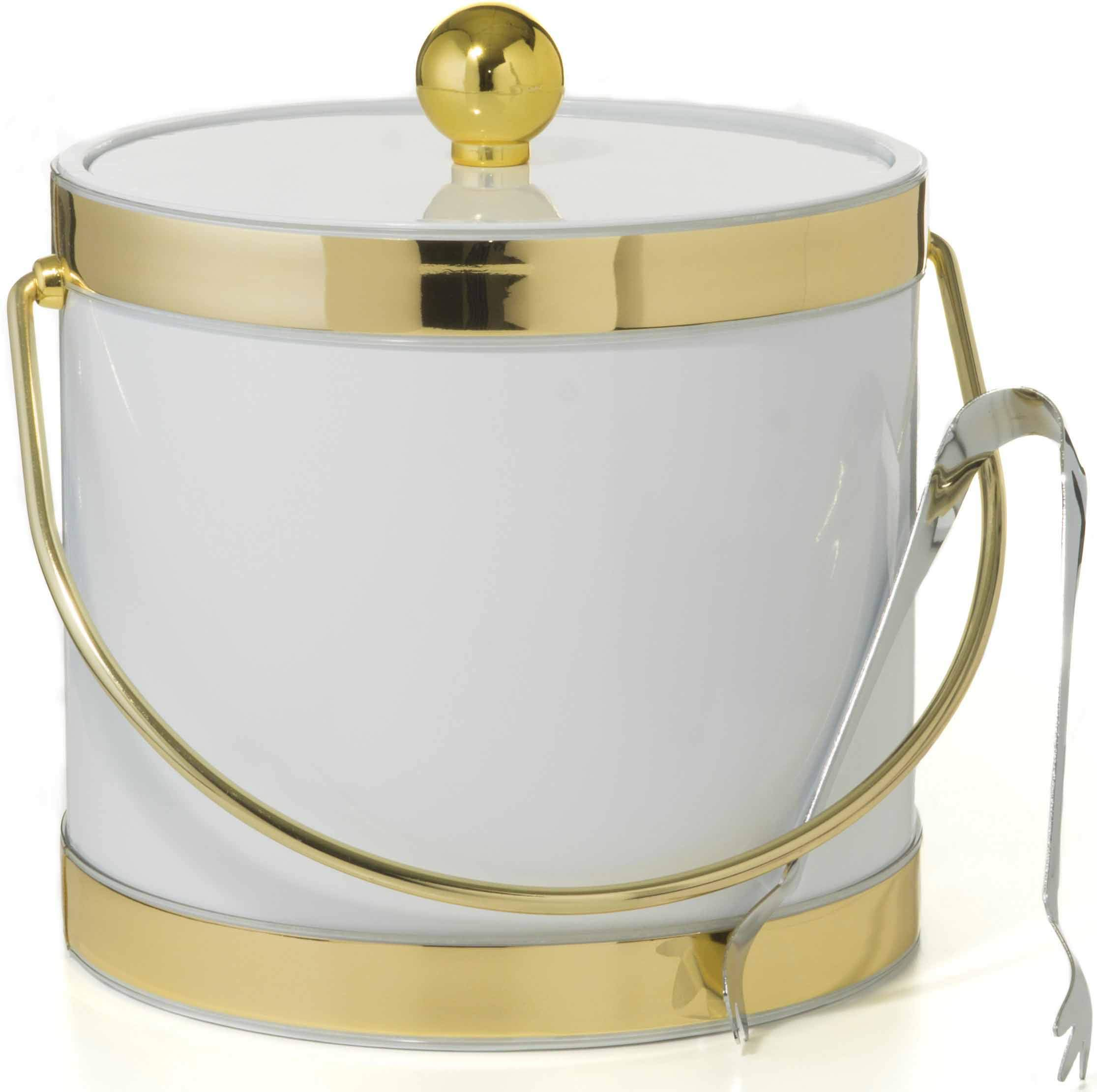 Hand Made In USA White With Dual Gold Bands Double Walled 3-Quart Insulated Ice Bucket With Bonus Ice Tongs by Mr. Ice Bucket By Stephanie Imports