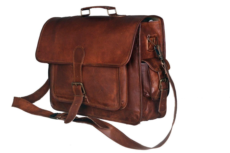 Satchel Handmade del sacchetto della cartella del messaggero del computer portatile dell'annata del cuoio genuino di New Men's Urbankrafted