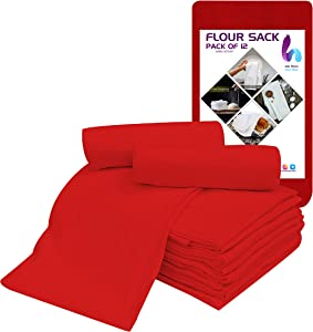 Hemi Home Extra Large Flour Sack Dish Towels, Set of 12, Cotton Kitchen Towels, Highly Absorbent 100% Cotton, Cleaning Cloth, Dish Cloth, Bread Wrapper, Drying Dinnerware for Multipurpose (Red)