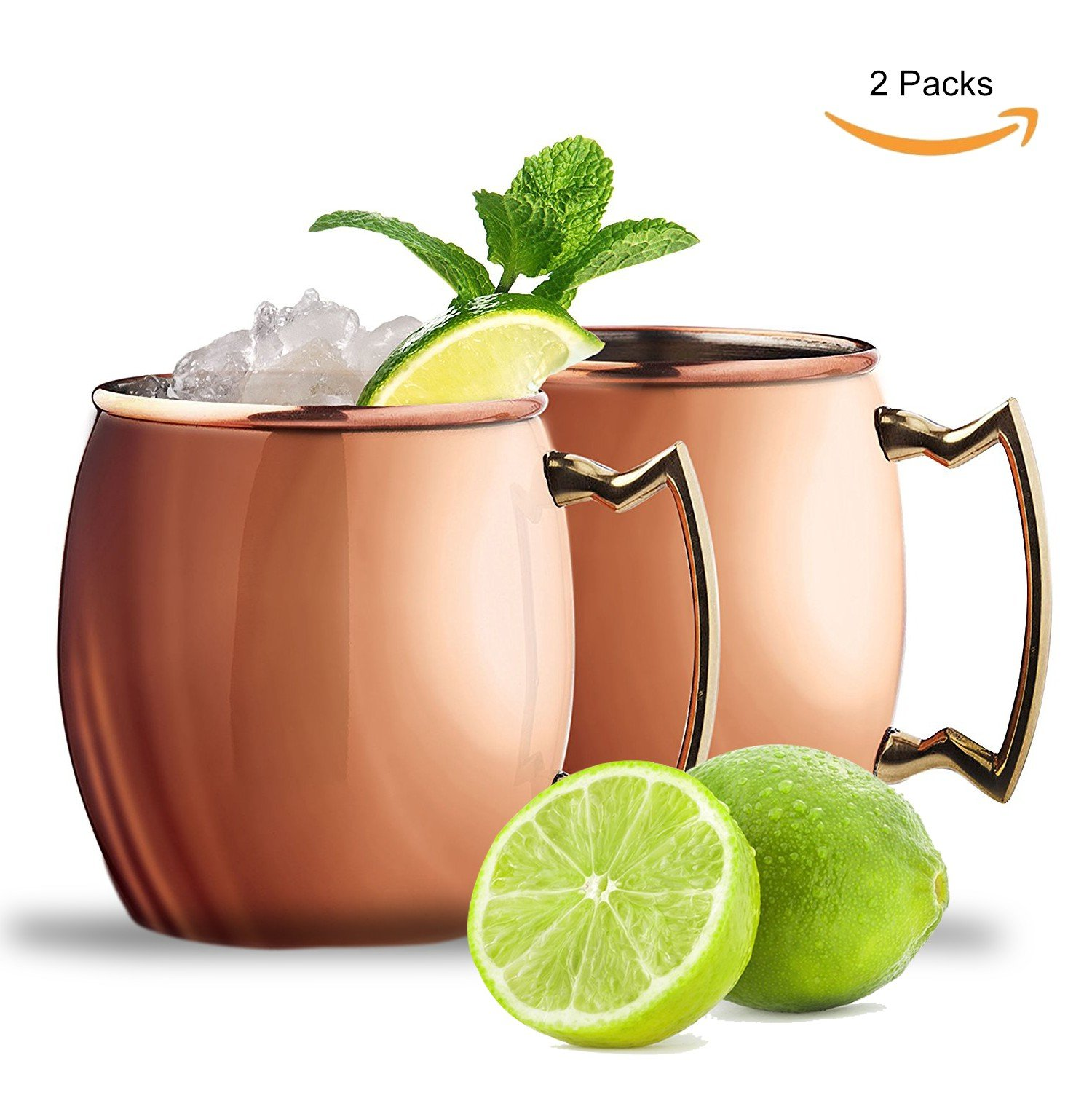 ZALALY Moscow Mule Copper Mugs Set of 2 - 100% Food Safe Pure Solid Drinking Copper Cups,18 Oz Handmade Hammered Mugs,Stainless Steel Lining (Smooth)