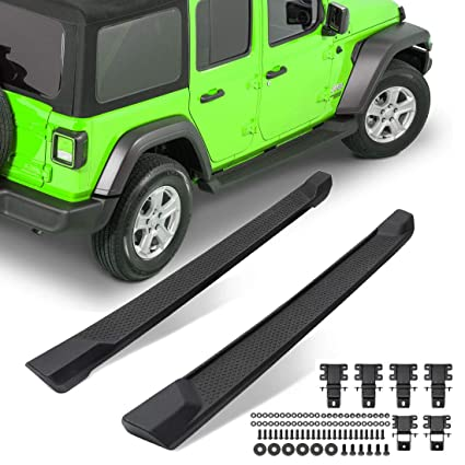 For 2018-2019 Jeep Wrangler JL 2 Door Side Steps Nerf Bars Running Boards Black