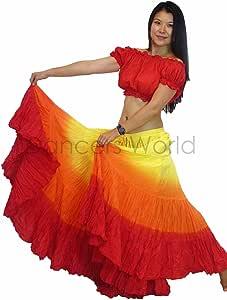 ATS de Las Mujeres Danza del Vientre 25 Yard algodón Maxi Falda ...