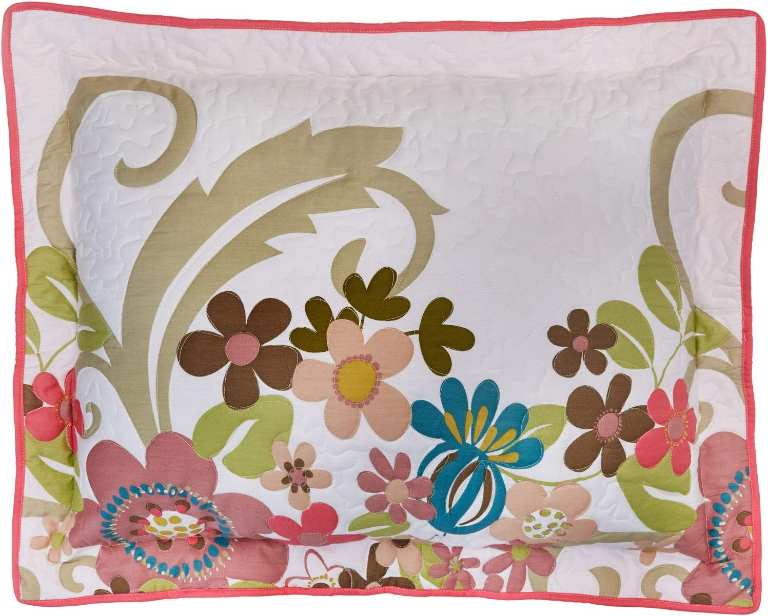 BrylaneHome Jardin Floral Sham - King, White Pink