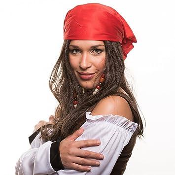 Piratas Pirata Ladrón De Mar Peluca (Peluca de pirata) con perlas und roten Bandana