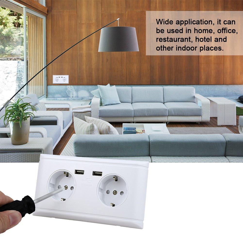 FTVOGUE Presa di Corrente per Presa di Corrente delladattatore per Caricabatterie a Parete Multi-Funzionale con Prese USB Dual Smart Presa Corrente e Presa AC 250V per la Ricarica Telefono