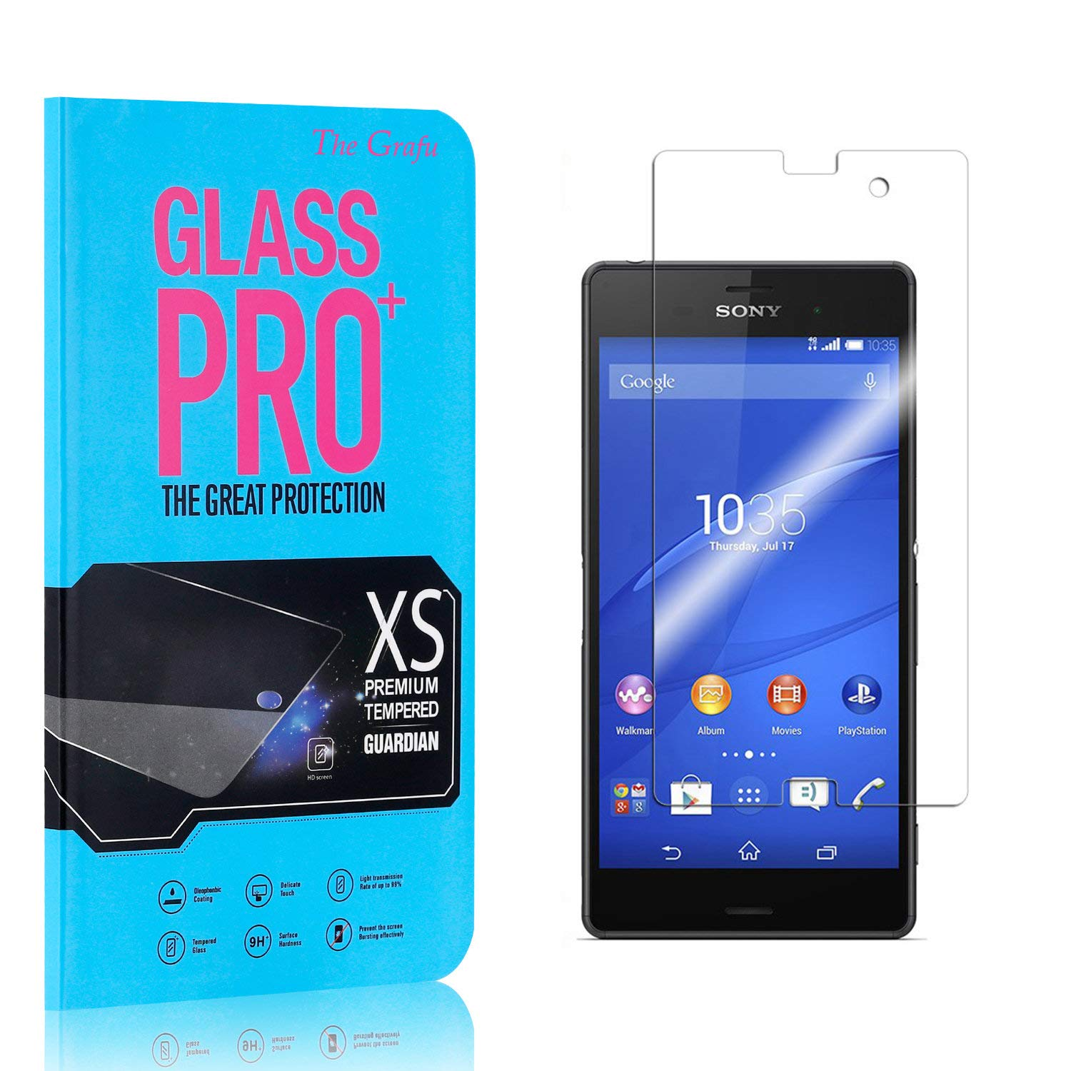 Screen Protector Compatible with Sony Xperia Z3 Compact The Grafu Anti Fingerprint Tempered Glass Screen Protector HD Screen Protector for Sony Xperia Z3 Compact 1 Pack