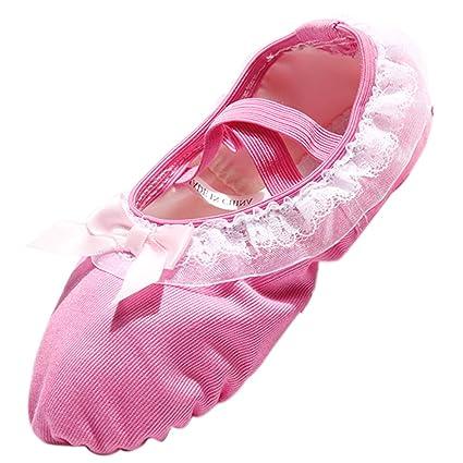 29b91ae1dd Panegy - Bambina Scarpette da Ballerina Scarpe da Ballo Scarpe Per Danza  Classica Scarpe per Balletto Antiscivoli con Merletto - Taglia 23 - Rosa