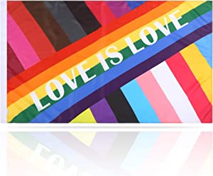 BATATADOCE Gay Pride Flag-3x5 Fts LGBT Pride ParadeFlags Garden House Outdoor Banner Flags-UV Fade Resistant Slogan Flag-Love is Love