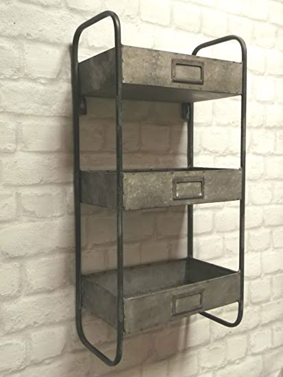 Vintage Industrial Style Metal Wall Shelf Unit Perfect For Bathroom Essentials Or Ornaments In Any Bedroom Hallway Kitchen Or Utility Amazon Co Uk