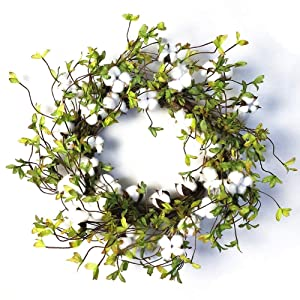 """22"""" Cotton Wreath Farmhouse Natural Cotton Boll Rustic Floral Round Wreath with Artificial Green Leaves for Outdoor Indoor Wedding Centerpiece Welcome Decor"""
