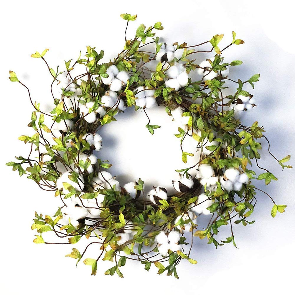 22'' Cotton Wreath Farmhouse Natural Cotton Boll Rustic Floral Round Wreath with Artificial Green Leaves for Outdoor Indoor Wedding Centerpiece Welcome Decor