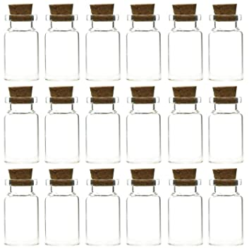 FiveSeasonStuff Mini transparente botellas/frascos de cristal con tapón de corcho para aromas, aceites