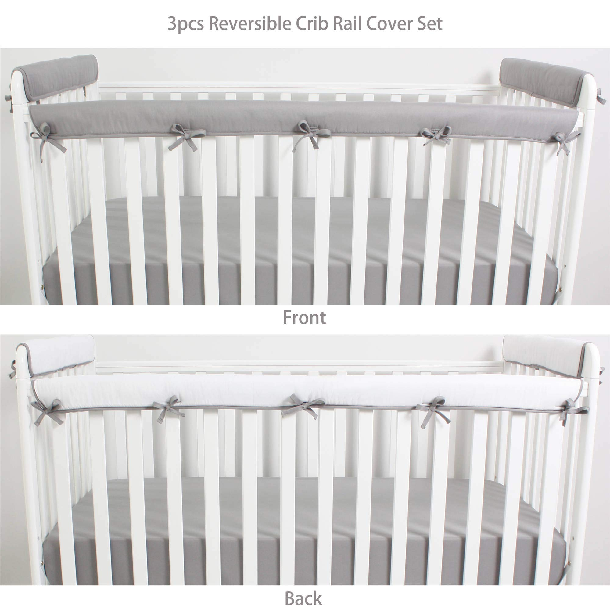 CaSaJa 3 Pieces Reversible Microfiber Crib Rail Cover Set for 1 Front Rail and 2 Side Rails, Soft Batting Inner for Baby Teething Guard, Gray or White, Fits Up to 8 inches Around or 4 inches Folded by CaSaJa