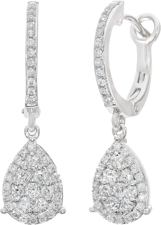 Naava - Pendientes para Mujer de Oro Blanco 18K con Diamante