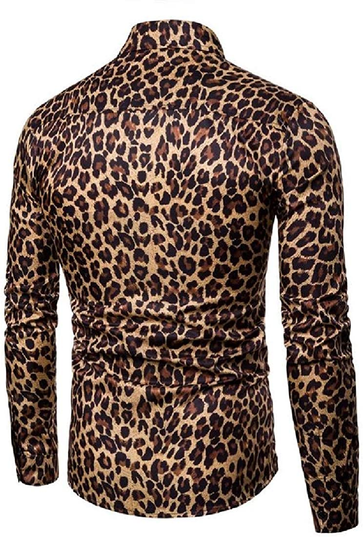 YUNY Men Non-Iron Long Sleeve Leopard Tailored Fit Individuality Shirt Yellow 2XL