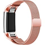Maledan Replacement Metal Bands for Fitbit Charge 2, Stainless Steel Milanese Bracelet with Magnet Lock, Large and Small