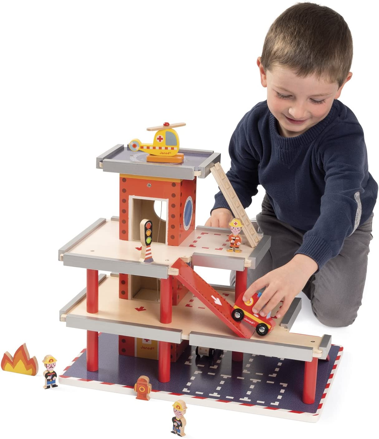 Janod MINI STORY FIREFIGHTER Wooden Toy Box Set Toddler//Child Figures BN