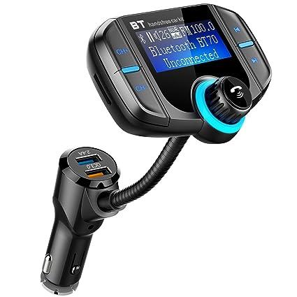 und Android-Ger/äte Bluetooth FM Transmitter 1,7-Zoll-Display KFZ Wireless Radio Adapter Freisprecheinrichtung Smart Dual USB-Anschl/üsse mit Quick Charge 3.0 TF Karte Slot 3,5mm AUX-Eingang f/ür iOS