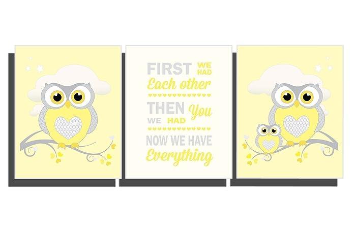 Amazon.com: Yellow Nursery Decor Baby Girl\'s Boy\'s Owl Wall Art Baby ...