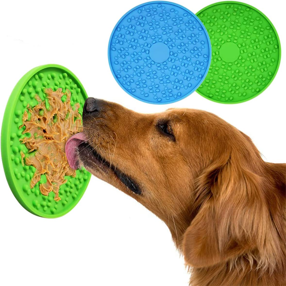 MR LION Pad for Dog Lick 2PCS - Dog Washing Distraction Device, Slow Eating Dog Mat with Super Suction for Pet Bathing, Grooming, and Dog Training -2 Pack (Blue & Green)