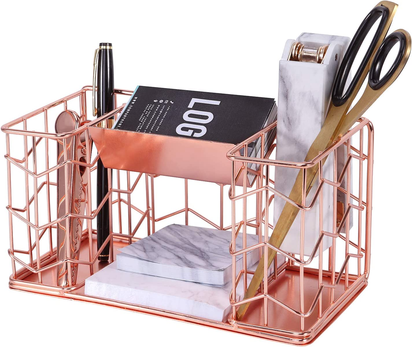 Nugorise Rose Gold Business Card Plus Pen Holder Organizer, 4 Compartments - 2 Pen Holders, Business Card Holder and Memo Holder, Multi-Functional Wire Stationery Storage Caddy