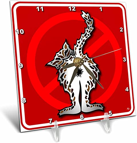 3dRose dc_33653_1 Butts Cat Butt 1 Red Sign-Desk Clock, 6 by 6-Inch