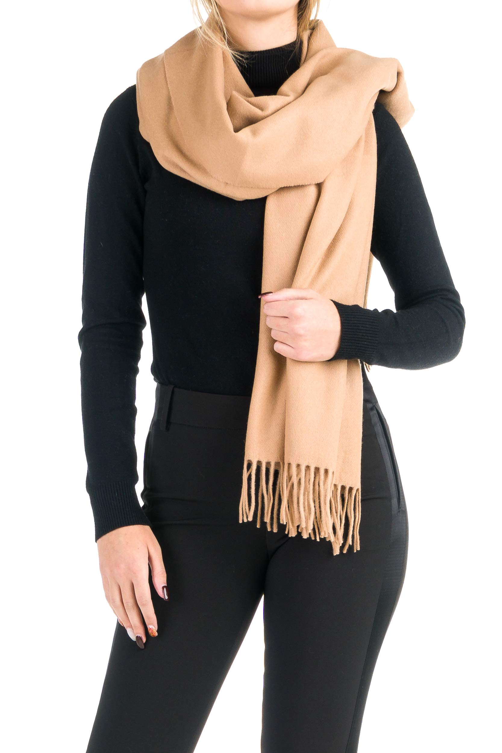 Angiola Made In Italy – Women's Winter Solid Tone 100% Virgin Wool Stole 100% Made In Italy – Warmly Embracing (Camel)