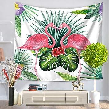 Tapisserie Tenture Plante Verte Mode Modele Flamingo Animal