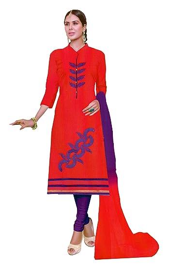 5c7b2e5aa5 Salvisa Collections Womens Cotton Dress Material(Svcs-D1714-Pr_1. Light  Pink Red_Free