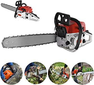 ZJS 【US Spot】 Chainsaw,20'' Bar 52CC Gasoline Chainsaw 4.0HP Gas Powered Wood Cutting Chain Saw for Farm, Garden and Ranch