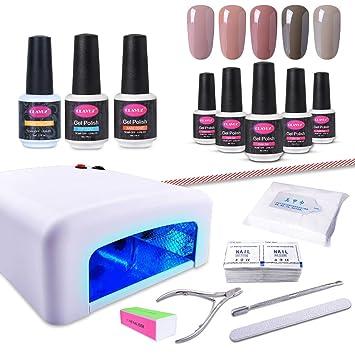Amazon.com : CLAVUZ Gel Nail Polish Kit with UV Light 15PCS Soak Off ...