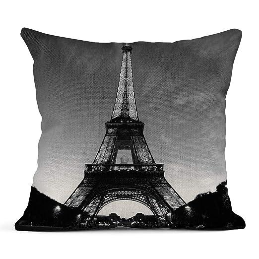 Kinhevao Cojín Negro Blanco Torre Eiffel Ciudad del Amor ...