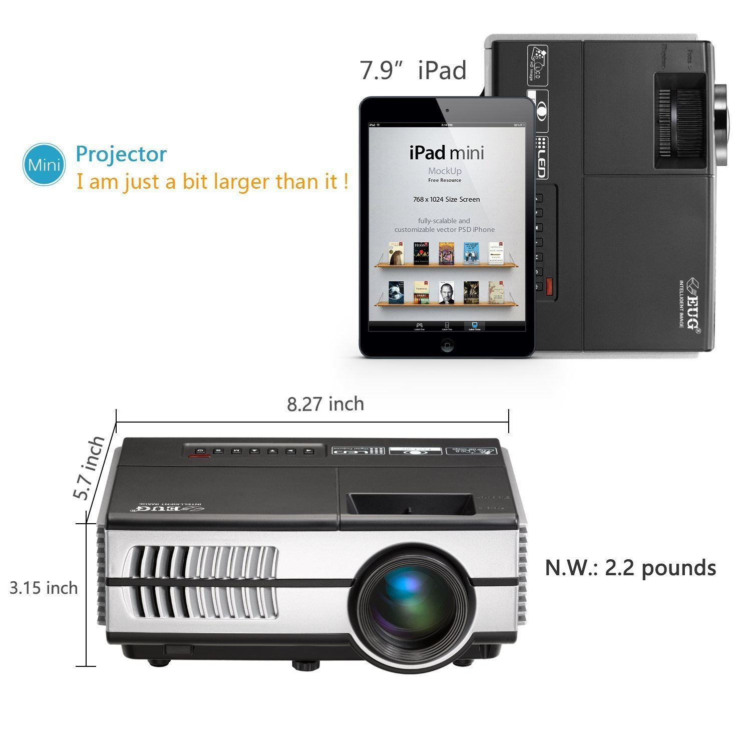 Portable Pico Mini LED Projector - Wireless WiFi Home Theater Cinema 1080P Video Games Outdoor Party Small Beamer Proyector Including USB HDMI VGA AV, 3.5mm Audio Jack by EUG (Image #9)