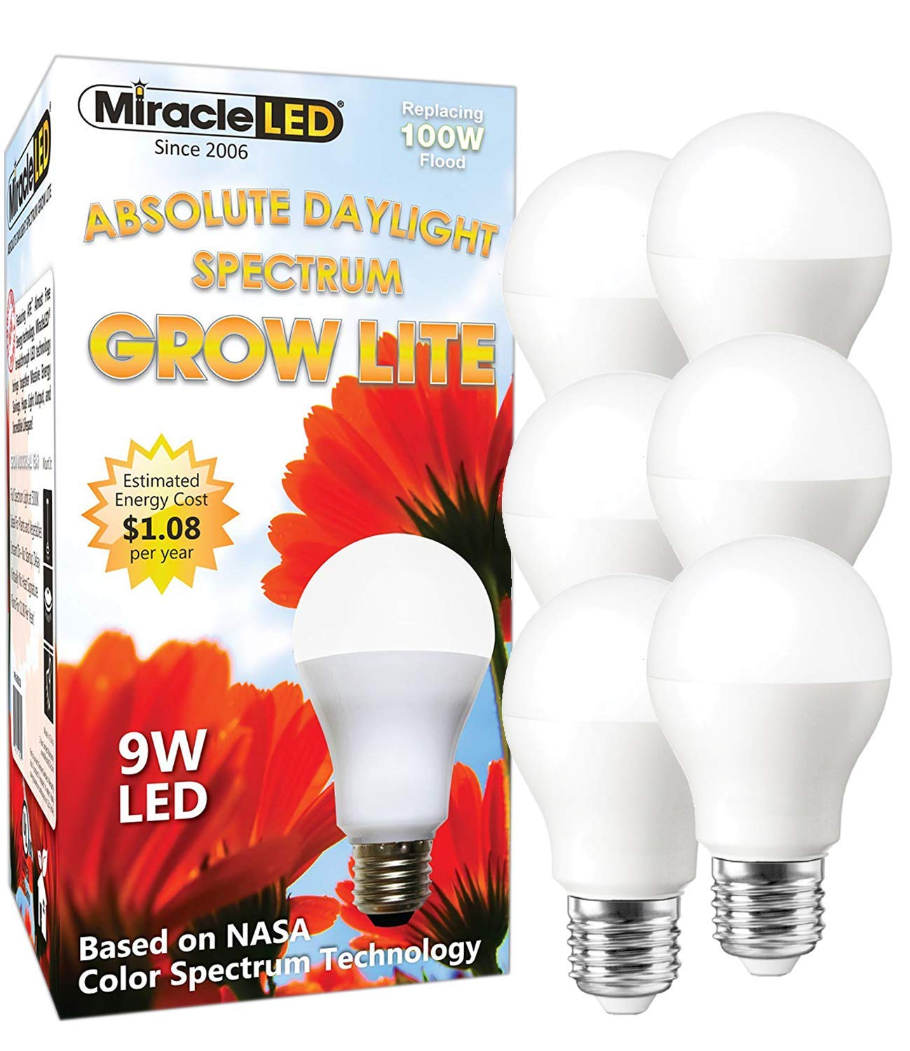 MiracleLED 604863 Absolute Daylight Spectrum 6-Pack, Replace 100W Grow Light, Full Bulb by MiracleLED