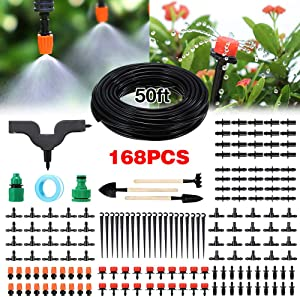 PATHONOR Garden Irrigation System, 50ft/15m Drip Irrigation Kit with Adjustable Nozzles Drippers Distribution Tubing Hose Saving Water Automatic Irrigation Set for Garden, Greenhouse, Patio, Lawn