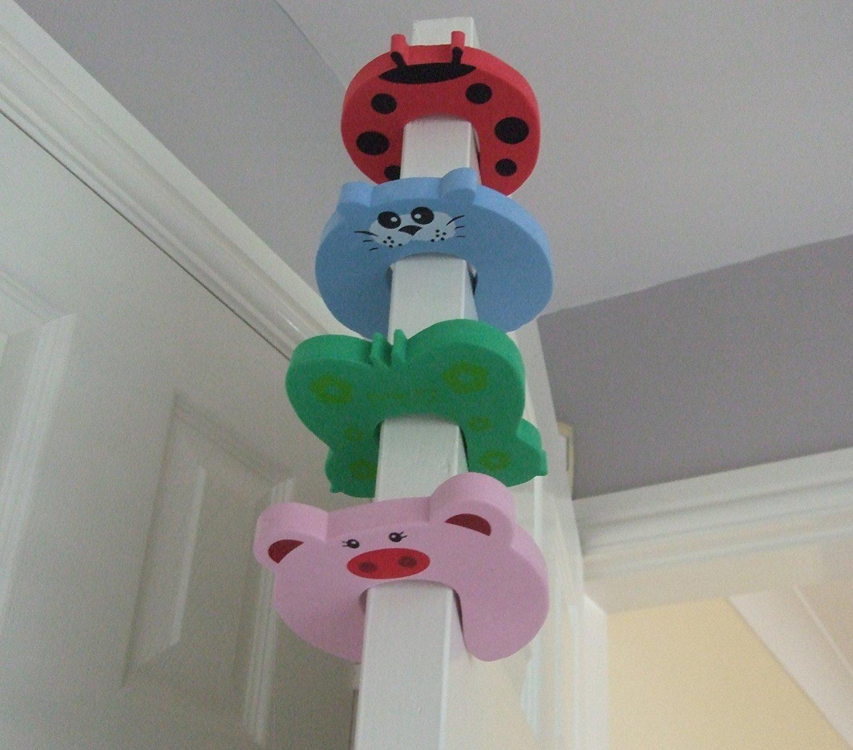 4 x Animal Door Stop, Finger Pinch, Safety Guard, Pink Pig, Red, Blue, Green styles, Helper, Finger saving Olivette