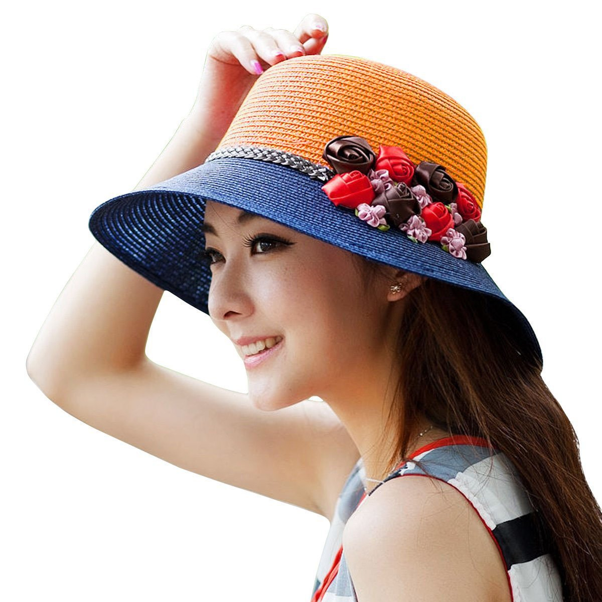 18352ea5c59 Amazon.com  WITERY Women Ladies Summer Sun Hat Wide Brim Sun Hats Beach Hat  Sun Visor Cloche UPF50+ Cap Full UV Protection for Women Girl  Sports    Outdoors