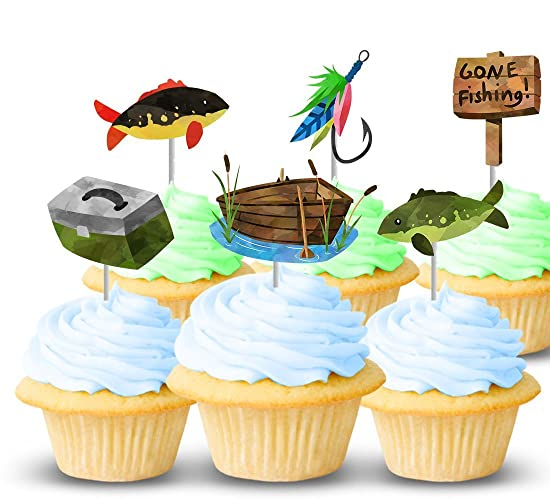 Amazon Fishing Party Cupcake Topper Picks 12 Ct