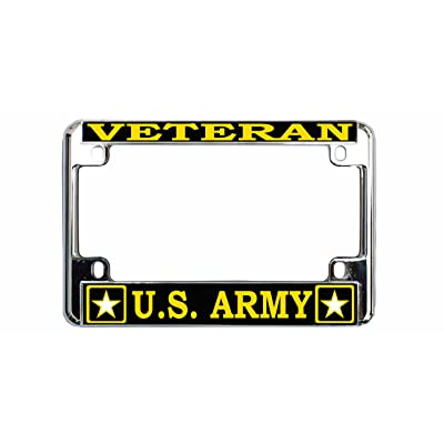New Custom Auto Tag Veteran US Army Quality Metal Motorcycle License Plate Frame: Automotive