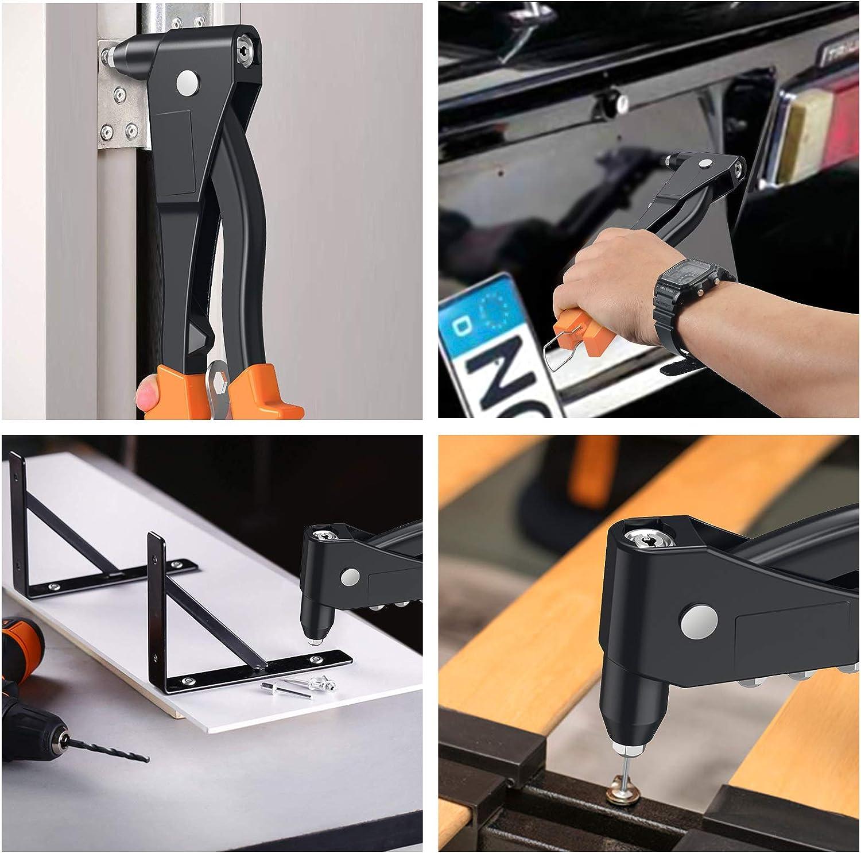 Esynic Gt522 Profi Nietpistole Robust Mit 200 Stück 2 4 Mm 3 2 Mm 4 Mm 4 8 Mm 4 Größen Nietwerkzeug Für Metall Holz Und Kunststoff Orange Baumarkt