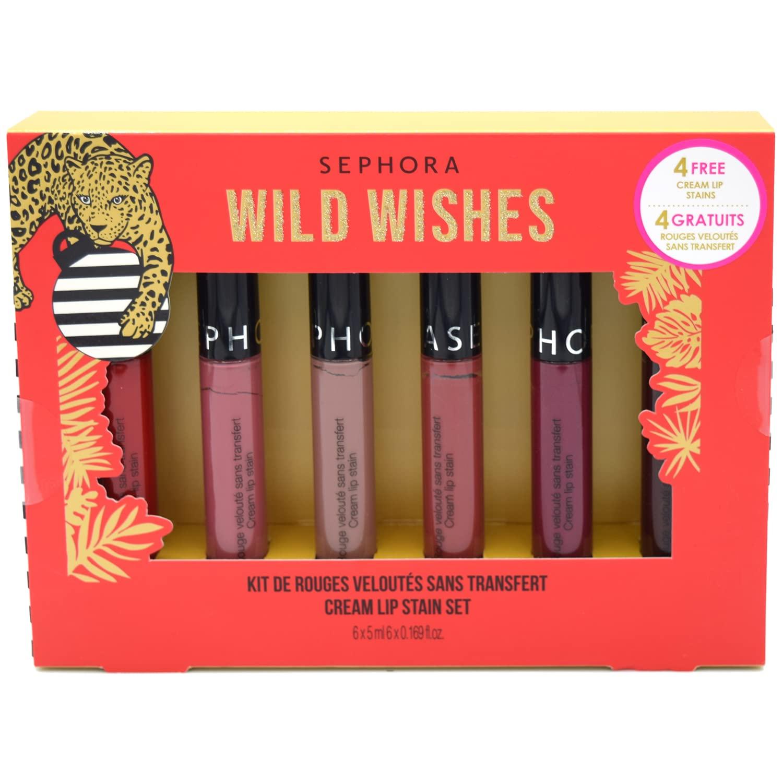 Sephora Wild Wishes Holiday Cream Lip Stain Set - always red, pink tea, rose redux, black cherry, blackberry sorbet, marvelous mauve