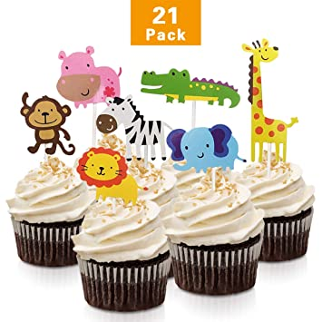 FishMM 21pcs Cute Zoo Animal Cupcake Toppers PicksJungle Animals Cake For Kids Baby