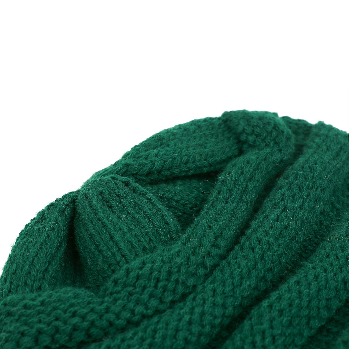 EVRFELAN Soft Winter Warm Knitting Hat Cable Beanie Solid Daily Slouchy Hats Skull Cap (Green2)