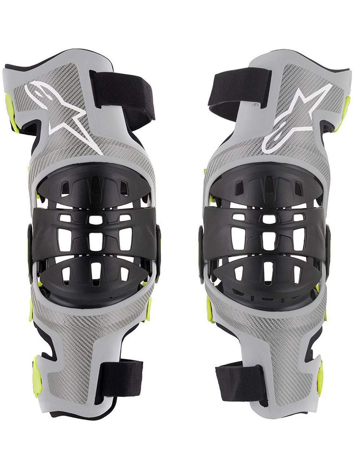 Bionic-7 Off-Road Motocross Knee Brace Set (Medium, Silver Yellow Fluo)