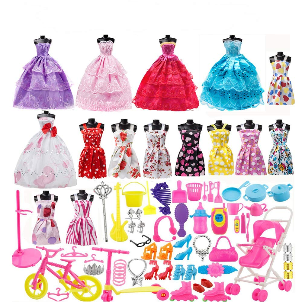 113Pcs Barbie Doll Clothes Set, 15 Pack Barbie Clothes Party Grown Outfits Dresses and 98pcs Different Doll Accessories Shoes bags Glasses Necklace Tableware for Little Girl Birthday Giraffe US